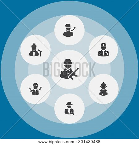 Set Of 7 Position Icons Set. Collection Of Reporter, Singer, Barber And Other Elements.