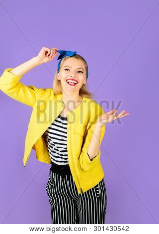 Smiling Retro Girl. Emotional Girl. Expressive Facial Expressions. Cheerful Woman With Clean Skin, B