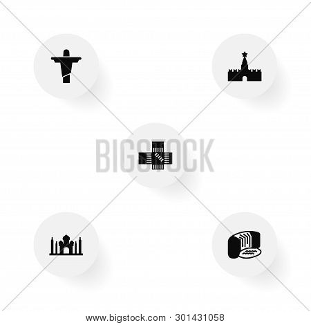 Set Of 5 Famous Icons Set. Collection Of Christ The Redeemer, Taj Mahal, Niagara Falls And Other Ele