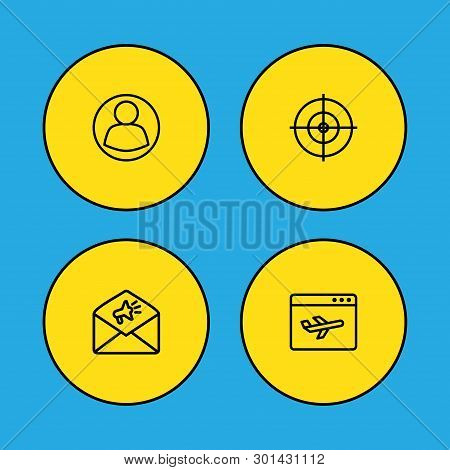 Set Of 4 Optimization Icons Line Style Set. Collection Of Dartboard, User, Airplane And Other Elemen