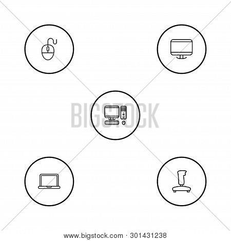 Set Of 5 Computer Icons Line Style Set. Collection Of Display, Laptop, Computer And Other Elements.