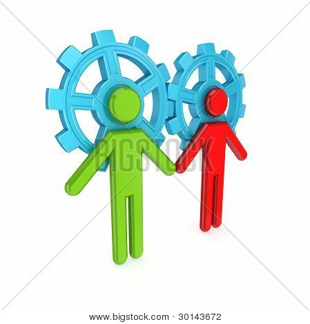 3d small people merged with a blue gears.