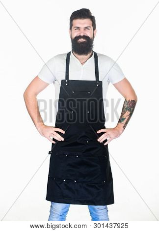 Let My Happy Smile Warm Your Hearts. Happy Man Wearing Barber Or Cooking Apron. Bearded Man Happy Sm