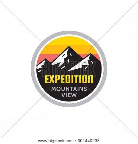Expedition Mountains View - Concept Badge. Climbing Logo In Flat Style. Extreme Exploration Sticker