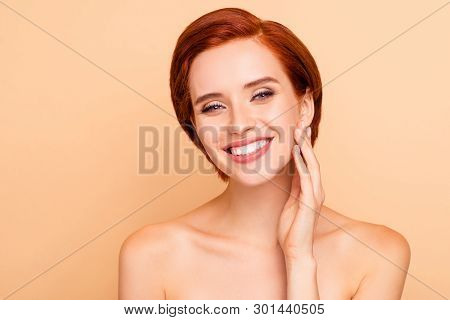 Close-up Portrait Of Nice Cute Lovely Sweet Attractive Charming Winsome Delicate Tender Cheerful Gir