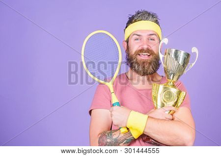 Win Every Tennis Match I Take Part In. Tennis Player Win Championship. Athlete Hold Tennis Racket An