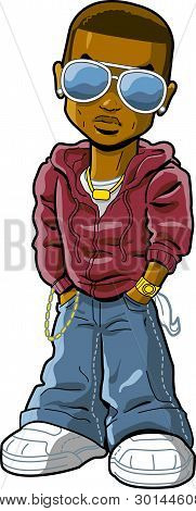 Cartoon urban ethnic hiphop rapper with cool sunglasses