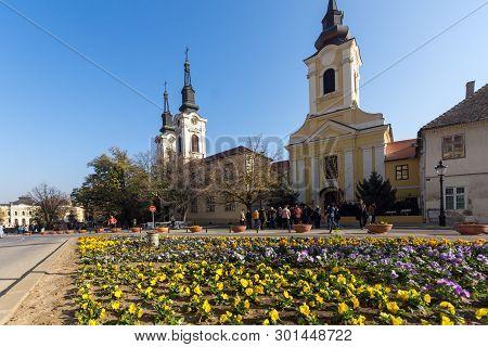 Sremski Karlovci, Vojvodina, Serbia - November 11, 2018: Orthodox St. Nicholas Cathedral Church In T