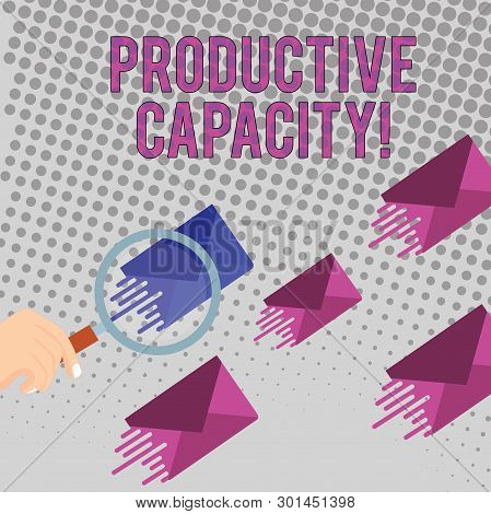 Conceptual hand writing showing Productive Capacity. Business photo text the maximum possible output of a production plant Magnifying Glass on Color Envelope and others has Same Shade. poster