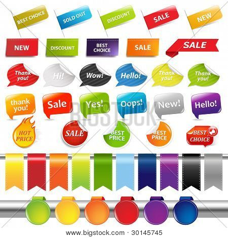 Set Of Sale Stickers And Labels, Isolated On White Background