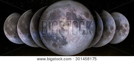 Phases Of The Moon Simultaneous In A Row. Waxing Crescent, Gibbous, First, Third Quarter,  Full Moon