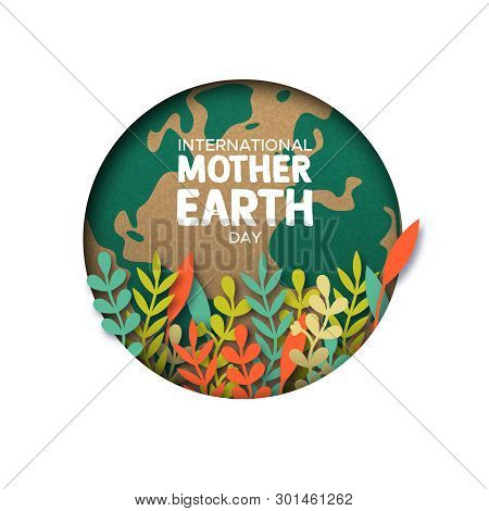 International Mother Earth Day Papercut Illustration. Colorful Leaves Inside World Map Cutout In Rec