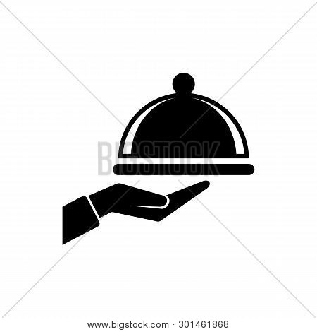 Covered Food Tray On A Hand Of Hotel Room Service Icon, Covered Food Tray On A Hand Of Hotel Room Se