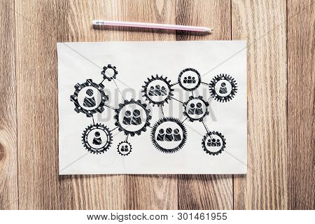 Business Process Management Pencil Hand Drawn With Group Of Rotating Cogwheels. Human Resources Sket