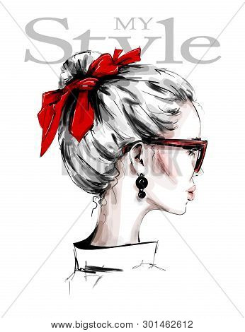 Hand Drawn Beautiful Young Woman With Red Headband. Female Profile. Stylish Girl In Sunglasses. Fash