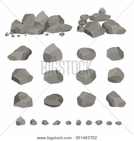 Set Of Gray Granite Stones Of Different Shapes. Element Of Nature, Mountains, Rocks, Caves. Minerals