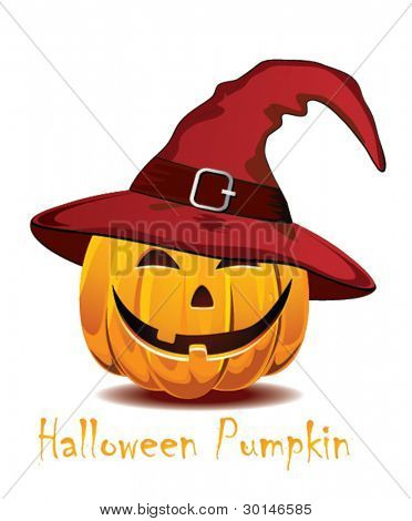 Halloween pumpkin in the  red hat