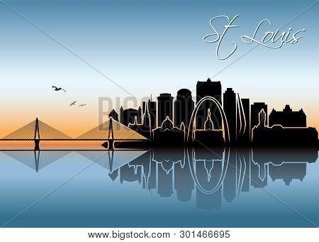 St Louis Skyline - Missouri - United States Of America Usa - Vector Illustration - Vector