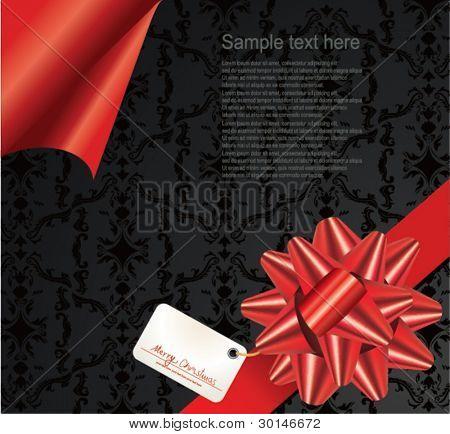 Red ribbon and gift tag.Vector