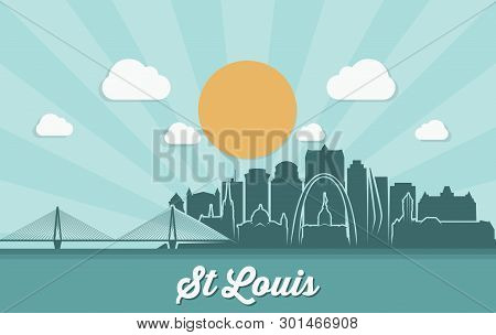 St Louis Skyline - Missouri - United States Of America Usa - Vector Illustration