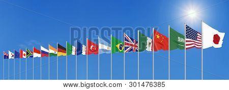 Waving Flags Countries Of Members Group Of Twenty. Big G20 In Japan In 2020 . Blue Sky Background. 3