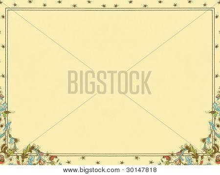 colorful elegant floral decorative framed paper background.
