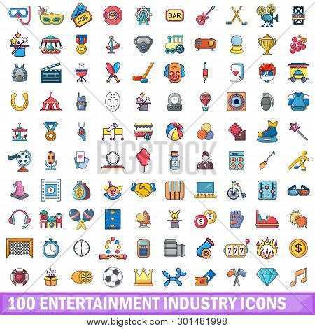 100 Entertaiment Industry Icons Set. Cartoon Illustration Of 100 Entertaiment Industry Icons Isolate
