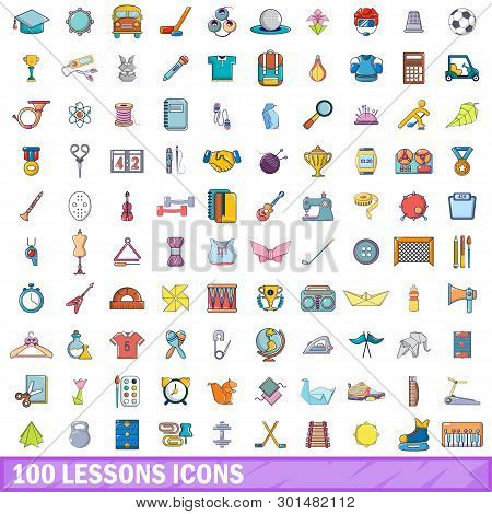 100 Lessons Icons Set. Cartoon Illustration Of 100 Lessons Icons Isolated On White Background