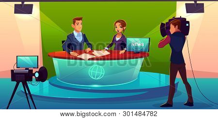 Newscasters Team Live Broadcast Cartoon Vector. Journalist And Tv Show Guest, Invited Expert Sitting