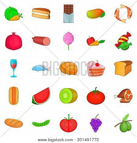 Overeat Icons Set. Cartoon Set Of 25 Overeat Icons For Web Isolated On White Background
