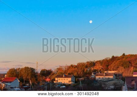 Dawn And The Moon In The Sky, The Dawn Hours In The Village In The Spring