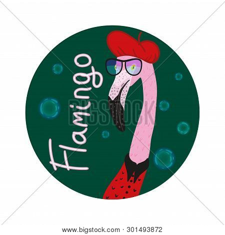 Portrait Of Hipster Flamingo In A Fun Neon Glasses And Red Barret Whith Bubble. Fashion Dressed Up A