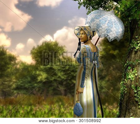 Pretty Jane Austen Style Young Woman Goes For A Walk In A Park, Regency Dress, 3d Render Painting