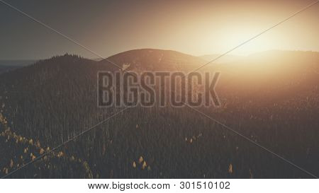 Sun Beam Mountainous Wood Peak Slope Aerial View. Epic Highland Wood Scenery Wildlife Habitat Overview. Rocky Edge Surface Soft Sunlight Glow Clean Ecology Concept Drone Flight