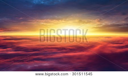 Beautiful Heavenly Landscape With The Sun In The Clouds  . Paradise Heaven . Red Sunset