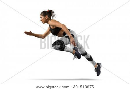 Running. Woman sprinter leaving starting on isolated on white background