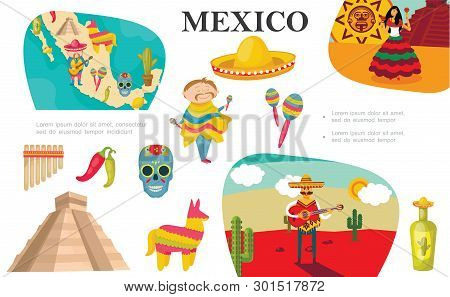 Flat Mexican Elements Composition With Mexico Map Man Playing Maracas Dancing Woman Pinata Tequila B