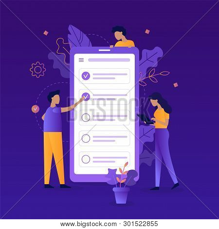 Teamwork. Mark A Task As Completed In The Task Manager App. Time Management Concept. Flat Vector Ill
