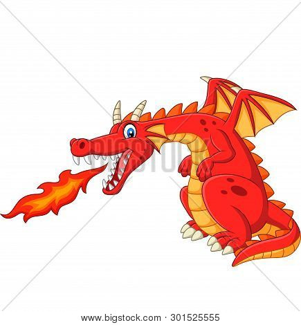 Cartoon Red Dragon Spitting Fire On White Background
