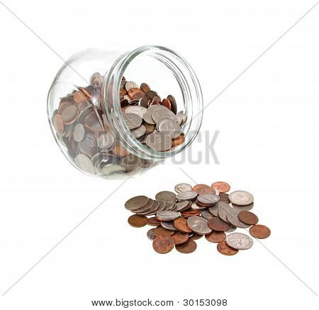 Wide Mouth Jar And Spilled Loose Change