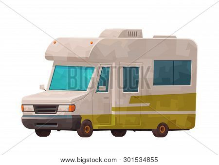 Travelling Camping Car Isolated On White Background Vector