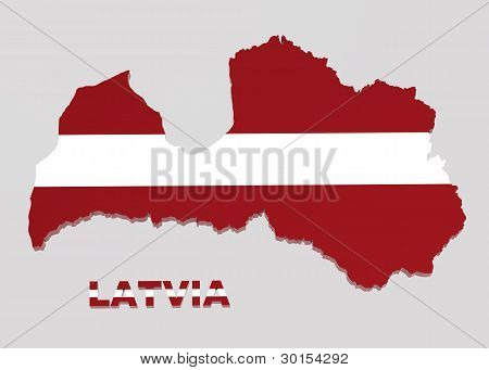 Latvia, Map With Flag, Isolated On Grey, With Clipping Path