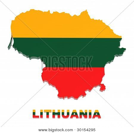 Lithuania, Map With Flag, Isolated On White, With Clipping Path