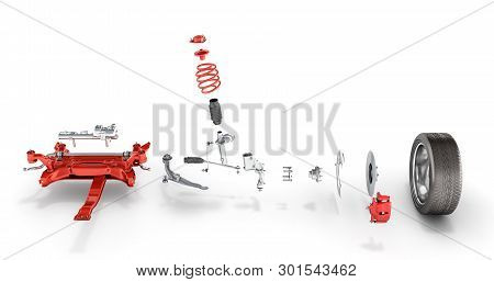 Suspension Of The Car With Wheel Undercarriage In Detail Isolated On White Background 3d