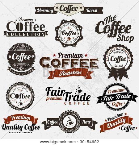 Conjunto de divisas café Retro Vintage y etiquetas