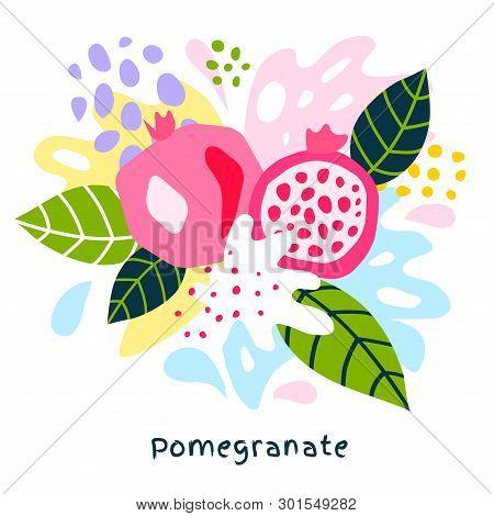 Fresh Pomegranate Tropical Fruits Juice Splash Organic Food Ripe Juicy Pomegranates Splatter On Abst