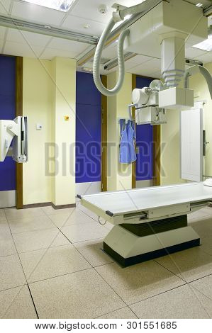 Hospital X-Ray area interior. Health center radiology area. Medicine poster