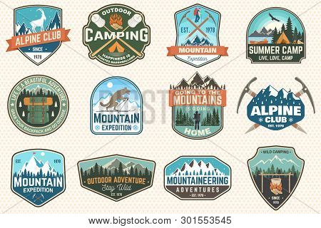 Set Of Mountain Expedition And Summer Camp Patches. Vector Concept For Shirt Or Print, Stamp, Badge