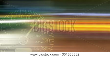 Blurry Lights Of Moving Cars In The Night City. Speedometer Of Automobile. Сoncept Of Fast Driving.