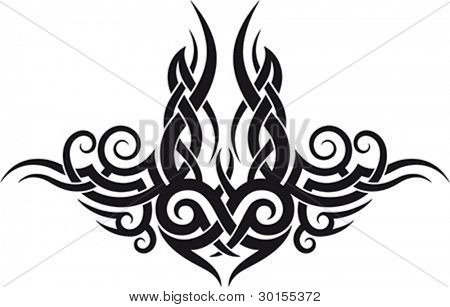 Maori tribal tattoo pattern fit for upper or lower back.